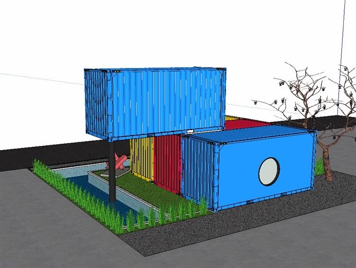 两层集装箱别墅设计su模型(3)