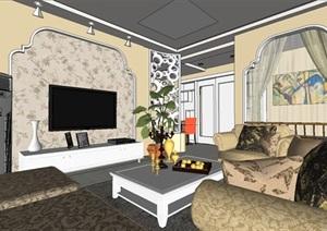 欧式客厅装潢方案SU模型