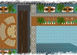 现代酒店游泳池与休闲平台SU(草图大师)模型