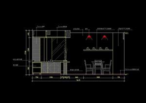 某现代餐厅区装饰墙及酒架造型CAD施工立面图