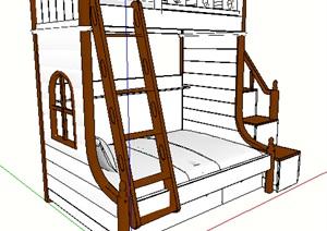 独特造型高低床SU(草图大师)模型