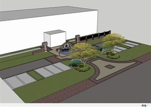 新古典小区入口景墙SU(草图大师)模型