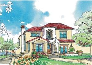 别墅建筑彩绘手稿