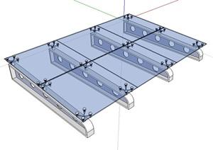 某建筑玻璃雨棚素材设计SU(草图大师)模型
