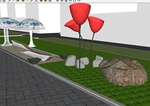 现代街道景观改造方案SU模型