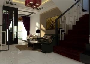 中式俭约别墅室内设计cad施工图