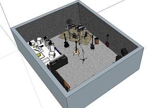 音乐工作室空间设计SU(草图大师)模型