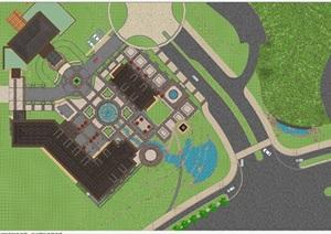 新古典风格酒店会所建筑与景观设计方案SU模型