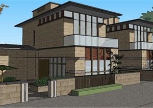 日式风格住宅别墅建筑SU(草图大师)模型