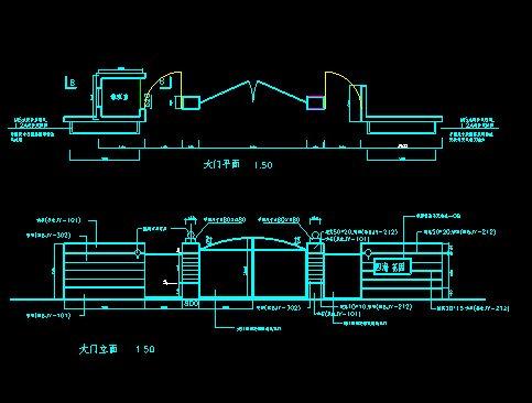 大门、花池、廊架、旗杆施工图(1)
