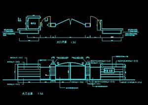 大门、花池、廊架、旗杆施工图