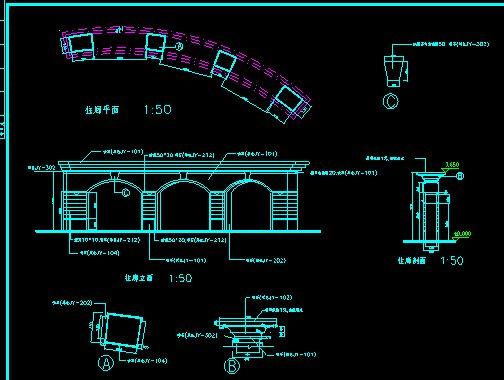 大门、花池、廊架、旗杆施工图(4)