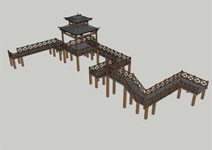 多款特色水上山地木栈道设计SU(草图大师)模型