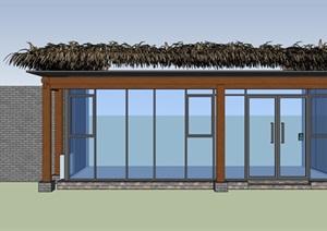 茅草玻璃房設計SU(草圖大師)模型