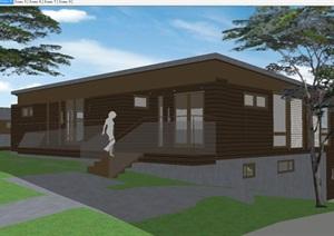 现代风格半坡别墅SU模型