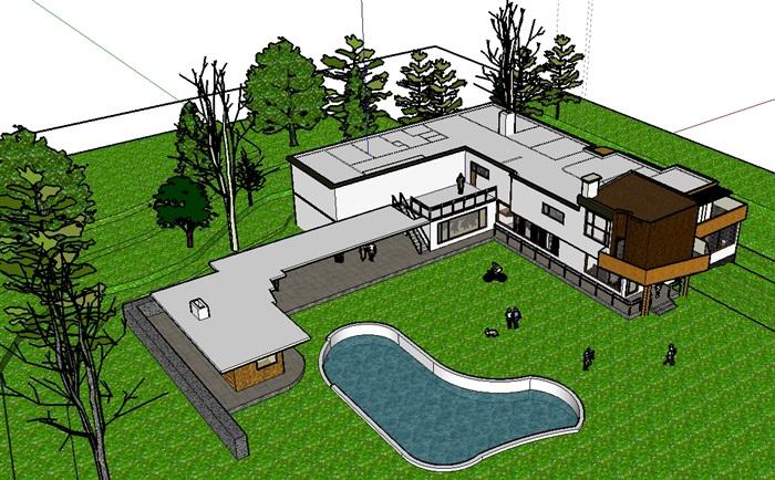 玛利亚别墅住宅建筑设计su模型(4)