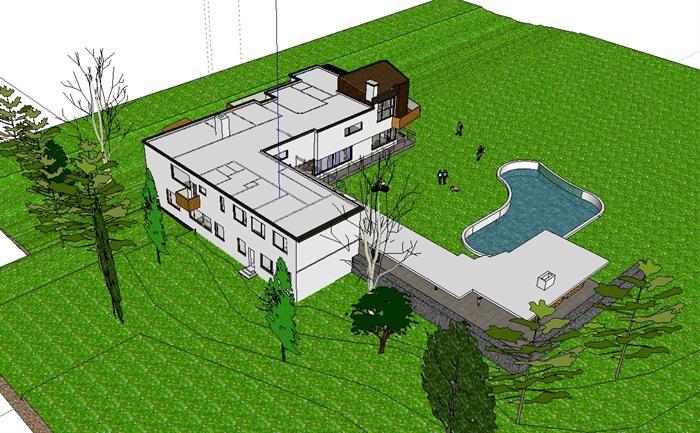 玛利亚别墅住宅建筑设计su模型(5)