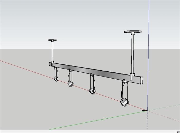 室内轨道射灯su模型(3)