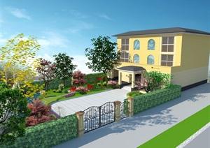 别墅花园sketchup模型+cad方案图+psd效果图