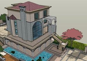 日式现代风格带景观设计独栋别墅建筑SU(草图大师)模型