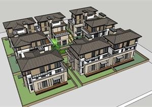 新古典风格别墅群建筑SU(草图大师)模型