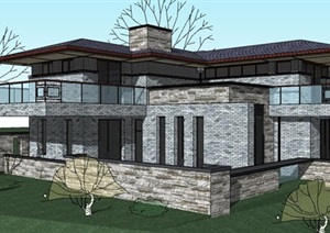 日式古典风格独栋别墅建筑设计SU(草图大师)模型