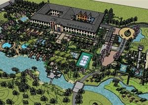 度假村酒店建筑及景观设计SU(草图大师)模型