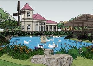 度假酒店详细景观设计SU(草图大师)模型