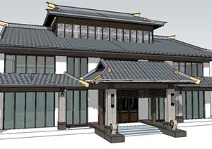 古典建筑商业会所SU(草图大师)模型