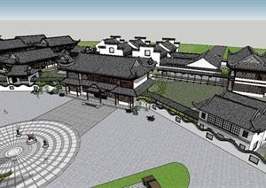 精致中式会所建筑设计SU(草图大师)模型