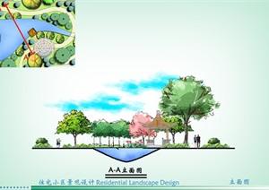 手绘住宅景观psd分层立面图