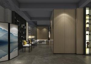 現代輕奢展廳詳細室內設計su模型