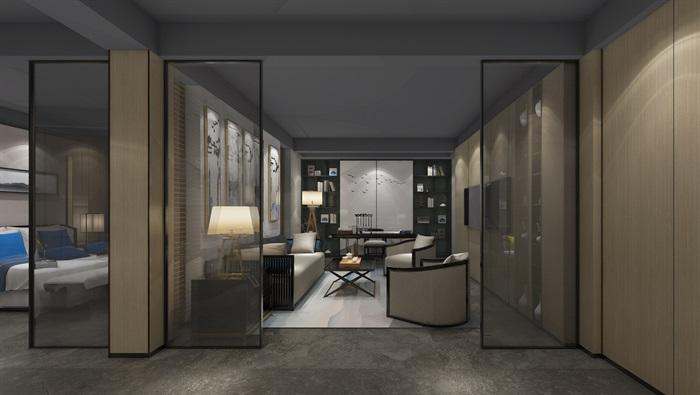 現代輕奢展廳詳細室內設計3d模型