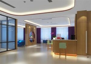 月子医院中心大堂、功能区设计SU(草图大师)模型