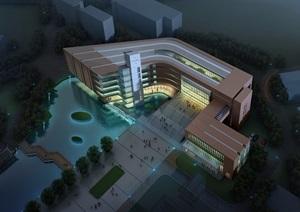 湖州广播电视大学图书馆建筑设计cad、jpg方案及SU(草图大师)模型