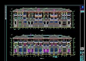联排南向别墅设计cad方案图