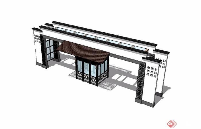 铁门材质贴图_新中式入口大门详细设计su模型[原创]
