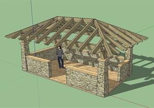 东南亚木质廊架素材SU(草图大师)模型