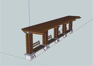 欧式风格详细的木质廊架坐凳设计SU(草图大师)模型