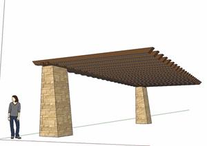 东南亚风格木质廊架SU(草图大师)模型