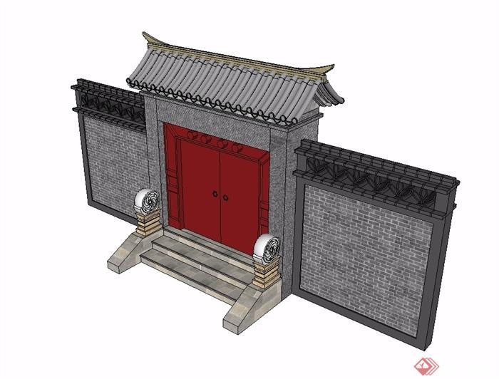 古典中式庭院入户大门su模型
