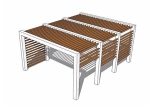 现代木廊架详细素材设计SU(草图大师)模型