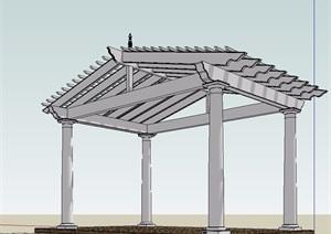 东南亚无材质贴图廊架设计SU(草图大师)模型