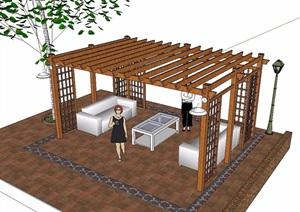 东南亚全木质廊架SU(草图大师)模型