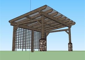 东南亚玻璃廊架素材设计SU(草图大师)模型
