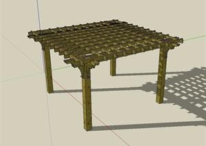 欧式详细完整的防腐木廊架SU(草图大师)模型