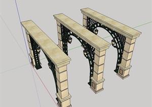 欧式详细完整廊架素材SU(草图大师)模型