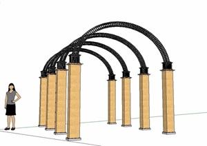 欧式组合铁艺廊架设计SU(草图大师)模型