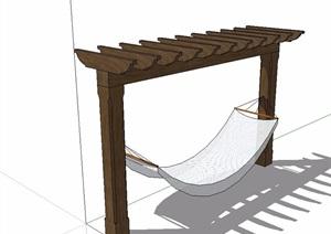 小型休闲防腐木廊架SU(草图大师)模型