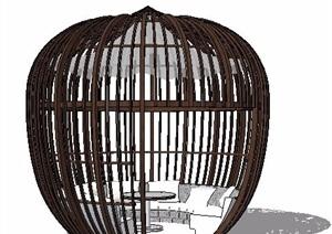 鸟笼状特色凉亭设计SU(草图大师)模型